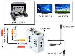 De AV2HDMI adapter stuurt het beeld van de GameCube zeer goed door op TV schermen en monitoren.
