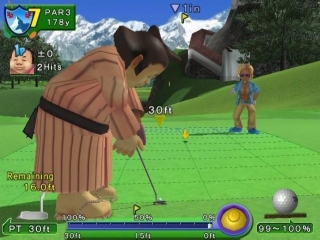 Ace Golf is geen realistisch golfspel zoals je kan zien...