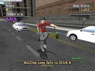Hij had geen reserveband dus reed hij maar op zijn achterwiel.