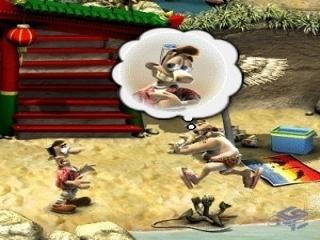 Woody volgt zelfs zijn buurman op vakantie om grapjes te kunnen blijven maken!