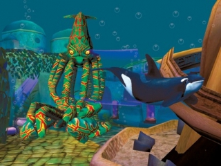 Hier zie je de grote vriend van Shamu: een hele grote inktvis.