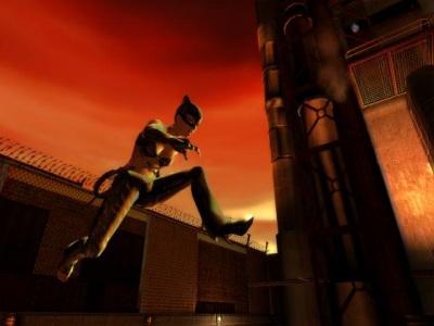 Catwoman spring over de muur van Hedare`s fabriek.
