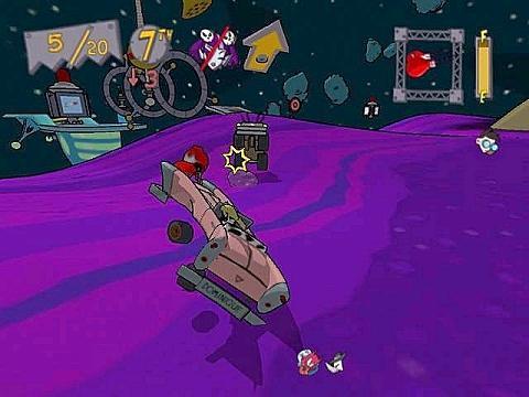 Altijd leuk, rondvliegen in een paarse wagen!