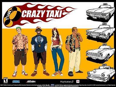 De characters uit Crazy Taxi, elk persoon heeft een andere taxi.