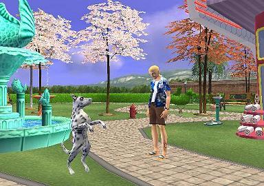 Honden kunstjes in  het park bij een rare freak.