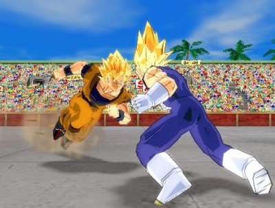 Hier zie je Goku en Vegeta tegen elkaar vechten en het gaat best gelijk op.