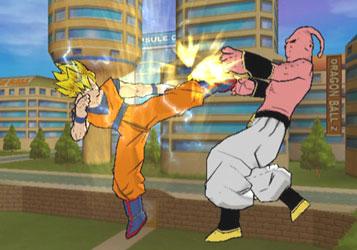 Deze afbeelding is een deel van het spel zelf als je tegen Majin Buu vecht met Goku. Goku is hier Super Saiyan 1 en is nog steeds te zwak om te winnen (helaas). Maar hij heeft hem wel flink geraakt!
