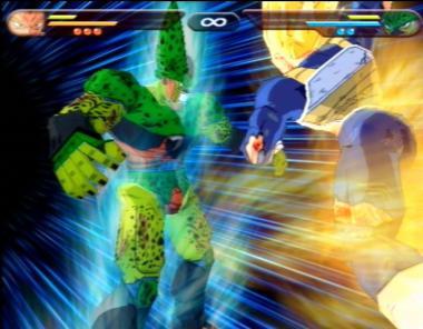 Hier doet (Imperfect) Cell, net zoals in de serie, zijn uiterste best om het gevecht tegen Vegeta te winnen, welke nu een Assassin Super Saiyan is (deze vorm is voor Cell veel te sterk)