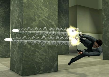 Natuurlijk zit het `Bullet time` effect dat de tijd vertraagd uit de film ook in Enter the Matrix de game. Zoalang de focus meter niet leeg is kun je dit effect gebruiken!