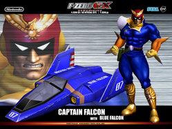 Captain Falcon met zijn auto de Blue Falcon.