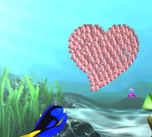 Ahh, een hartje... dat ziet er lief uit. Maar pas op! Zwem er niet tegenaan!