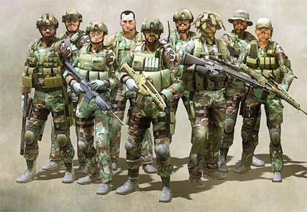 9 soldaten op een rij, klaar om te knokken!!