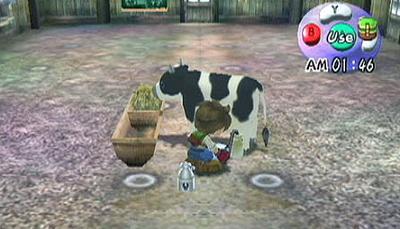 Je begint het spel met één koe, later kun je ook schapen, geiten en een paard in je stal zetten.