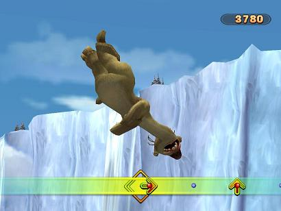 Hij denkt dat ie kan vliegen, tja Sid de grond luiaard is niet de slimste...