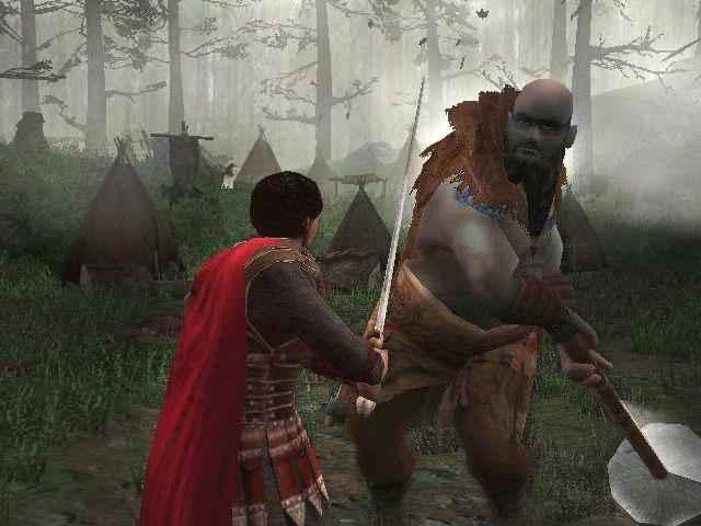 King Arthur tegen een hele grote man aan het vechten
