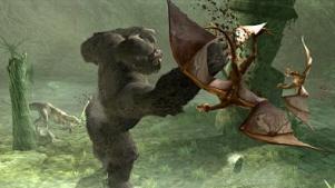 Vecht als Kong tegen talloze prehistorische wezens: zowel op het land als in de lucht.