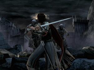 Aragorn bij de Zwarte Poort van de Doemberg