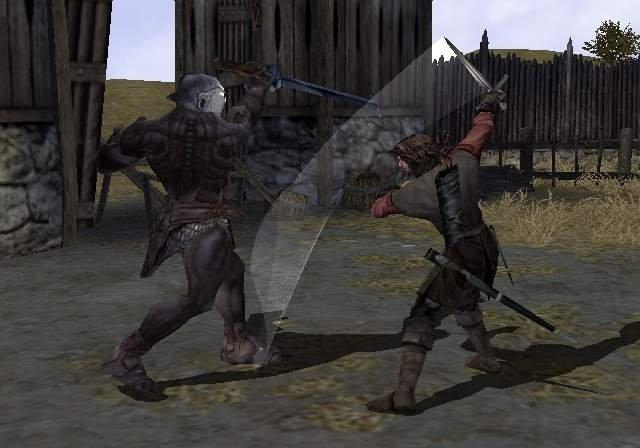 Aragorn in gevecht met een Uruk-Berserker