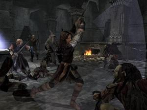 Aragorn in gevecht met de aardmannen van Moria