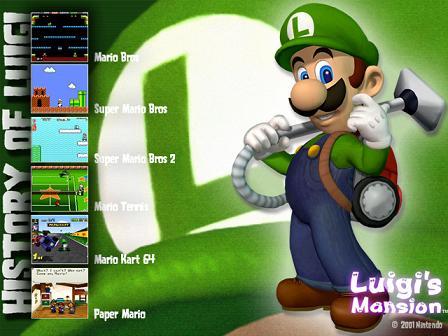 Luigi speelde in: Mario Bros, Super Mario Bros, Super Mario Bros 2, Mario Tennis, Mari Kart en Paper Mario.