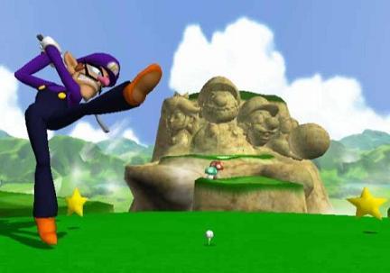 Ik weet dat je een hekel hebt aan die rots Waluigi. Maar ik denk niet dat het helpt als je er met een golfbal tegenaan slaat!