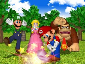 De rest kijkt toe terwijl Mario zijn powerslag maakt.