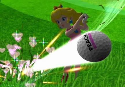 De powerslag van Peach laat hartjes achter. Blijkbaar is de liefde voor de bal groter dan voor Mario.