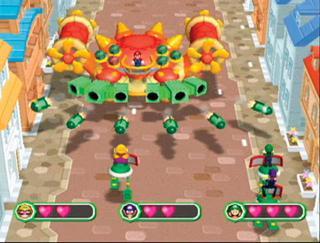 Ik blijf lekker achter Luigi lopen dan ziet Mario mij niet