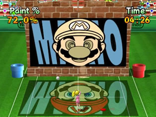 Een minigame waar je verfballen op de goede plek moet slaan.