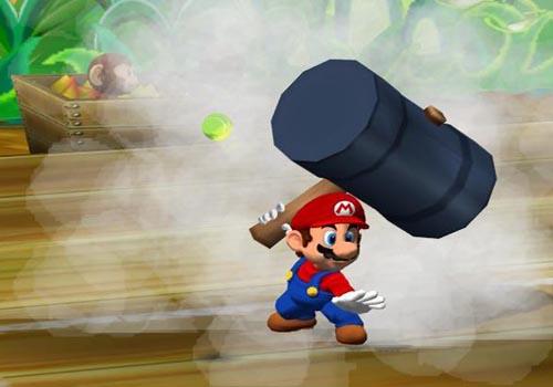 Mario heeft deze hamer al heel lang. Lang geleden (op de NES) is met deze hamer Donkey Kong mee gemept.