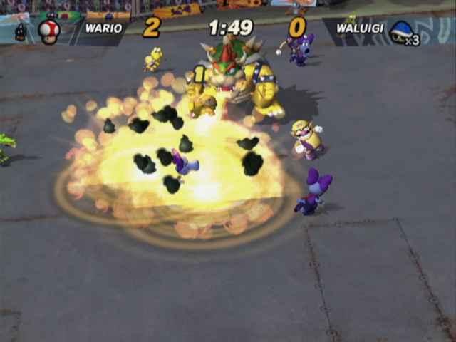 Ook in dit spel staat Bowser niet aan jouw kant, af en toe komt ie het veld op om chaos te veroorzaken.