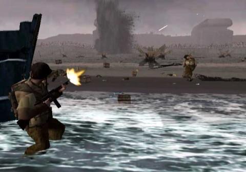 Het D-Day level komt recht uit de film Saving Private Ryan.