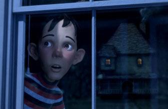Dj kijkt naar buiten en ziet het `Monster House`