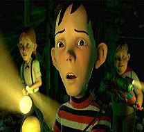 Dj, Chowder en Jenny betreden het `monsterhouse` met hun wapens