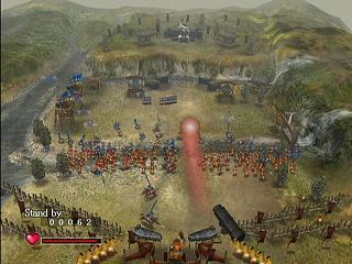 Je leger moet het einde van het veld bereiken met de bel. De Odama (hier de rode bal) helpt je hierbij.