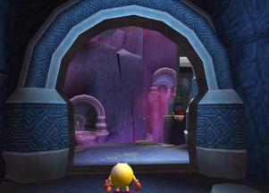 Je komt als Pac Man in verschillende omgevingen.