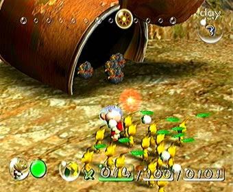 De gele pikmin kunnen bomrotsen (te vinden in de ton) dragen.