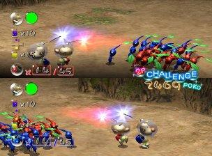 In de multiplayer is het de bedoeling om: elkaar´s Pikmin of Personage te doden, drie gele knikkers te pakken te krijgen of elkaars knikker (rood en blauw, dat zijn ook de kleuren van de Pikmin in de teams) te stelen.