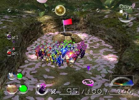 Een Pikmin team, je team kan maximaal bestaan uit 100 Pikmin en Olimar en Louie. De overige Pikmin gaan in hun ´´ui´´ (een soort ruimteschip voor de Blauwe, Rode en Gele Pikmin) en de rest (Wit en Paars) gaan in jouw eigen Raket.