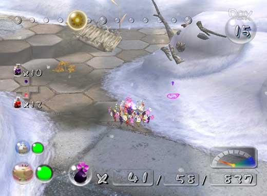 Met de cursor (paars/roze in het midden in de sneeuw) kun je richten waar je je Pikmin naartoe gooit.