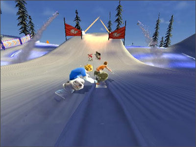 Race met meerdere spelers over spectaculaire bergen