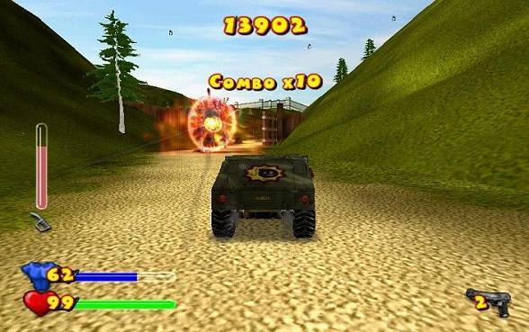 In dit spel kun je ook lekker scheuren in je leger auto.