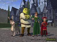 Van links naar rechts: Donkey, Shrek, Princess Fiona en King Harold