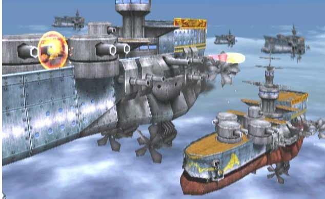 Vliegende schepen van Valua die aanvallen.