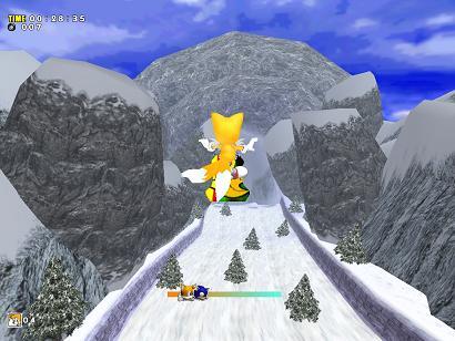 Dit lijkt op Sonic Riders! Onderin zie je een balkje waar je kunt zien waar jij en Sonic Zijn. Dat is handig, want in Tails levels moet je sneller dan Sonic zijn!