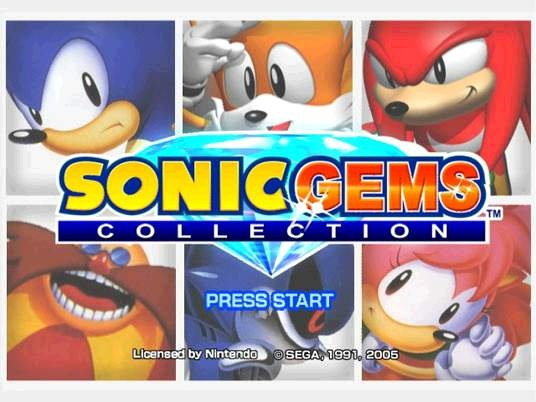 Titelscherm van Sonic Gems Collection