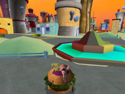 Spongebob en vriend Patrick in een Hamburger. Is dat effe lachen!