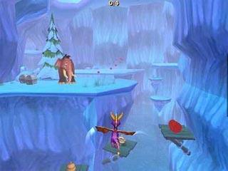Vlieg met Spyro door ijsgrotten.