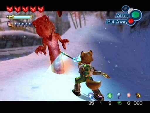 Starfox adventures lijkt erg op Zelda, bij gevechten kun je op vijanden ´locken´.