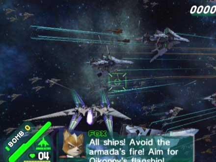 Ook in deze Starfox moet je vliegen.